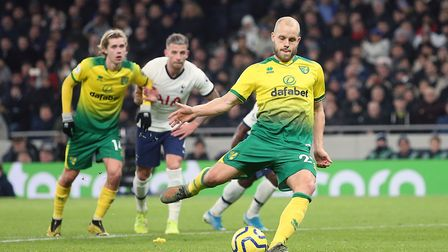 Teemu Pukki of Norwich scores his sides 1st goal from the penalty spot during the Premier League mat