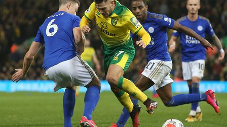 Emi Buendia was back in the starting line up for Norwich City against Leicester City Picture: Paul