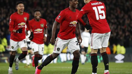 Odion Ighalo scored twice as Manchester United won 3-0 at Derby Picture: Martin Rickett/PA Wire
