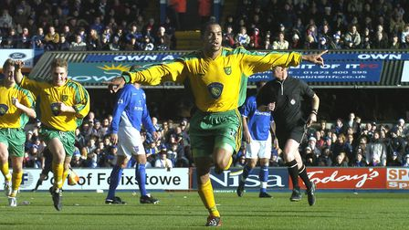 Norwich City's Leon McKenzie celebrates his first goal for the club during the match at IpswichPic S