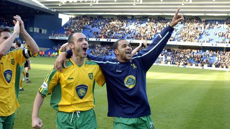 Norwich City's Craig Fleming and Leon McKenzie celebrate the win at Ipswich; Pic Simon Finlay; copyr