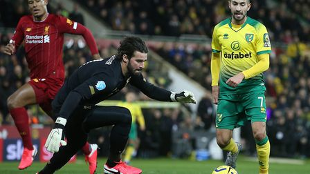 Lukas Rupp was thwarted by Liverpool keeper Alisson after hesitating with the score at 0-0, during N