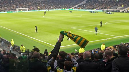 The Norwich fans before the FA Cup match at Tottenham Hotspur Stadium, LondonPicture by Paul Chester