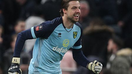 Tim Krul played a pivotal role in Norwich City's FA Cup fifth round success at Tottenham Picture: Pa