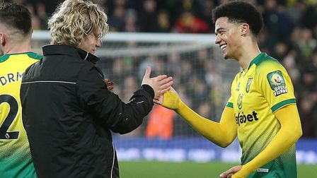 Jamal Lewis is congratulated by Todd Cantwell after his match winning strike in Norwich City's 1-0 P