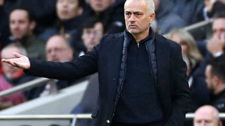 Spurs manager Jose Mourinho on the touchline during the Premier League match against Wolves at the T