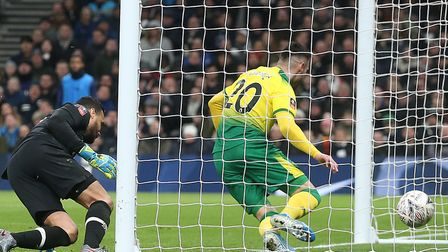 Josip Drmic equalised for the Canaries in normal time at Tottenham Picture: Paul Chesterton/Focus Im