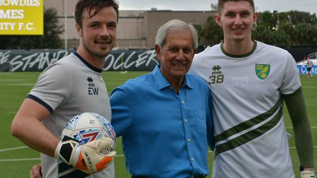 Norwich City goalkeeper coach Ed Wootten, left, and academy keeper Aston Oxborough, right, with lege