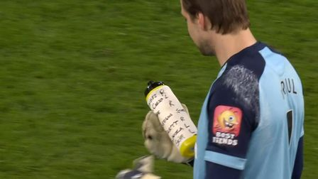 The predicted penalty shots written on Tim Krul's water bottle Picture: BBC