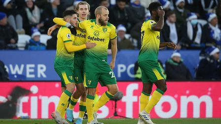 Teemu Pukki celebrates his goal in the 1-1 draw at Leicester in December Picture: Paul Chesterton/Fo