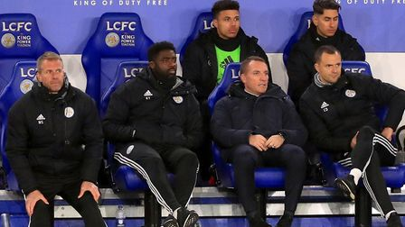 Sitting pretty - Leicester City manager Brendan Rodgers, centre Picture: PA