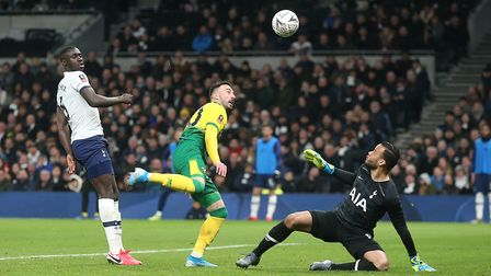 Josip Drmic of Norwich scores his sides 1st goal during the FA Cup match at Tottenham Hotspur Stadiu