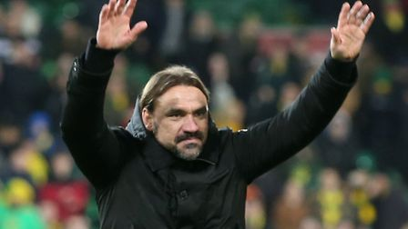 Norwich Head Coach Daniel Farke celebrates victory at the end of the Premier League match at Carrow