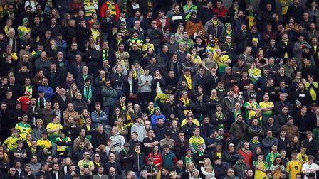 The traveling Norwich fans during the Premier League match at St. James's Park, NewcastlePicture by