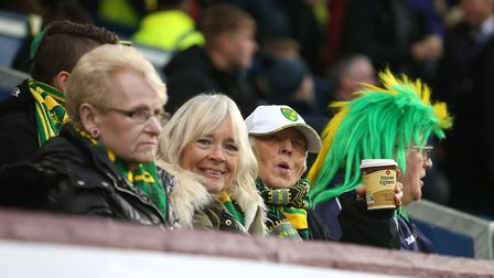 The traveling Norwich fans during the FA Cup match at Turf Moor, BurnleyPicture by Paul Chesterton/F