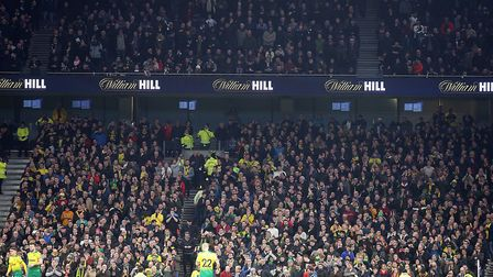 Some of the 3,000 Canaries fans who made the trip to Tottenham Hotspur Stadium in January Picture: P