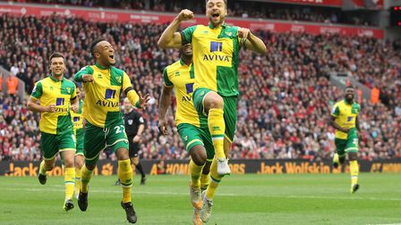 City celebrate equalising at Anfield in 2015 - and a double celebration for Russell Martin, who beca