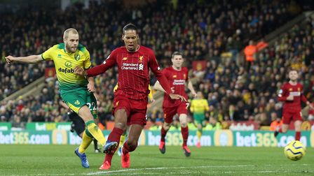Teemu Pukki had a late chance for Norwich City during defeat to Liverpool Picture: Paul Chesterton/F