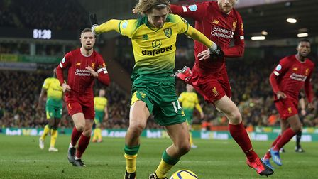 Todd Cantwell in action during Norwich City's 1-0 loss to leaders Liverpool at Carrow Road Picture: