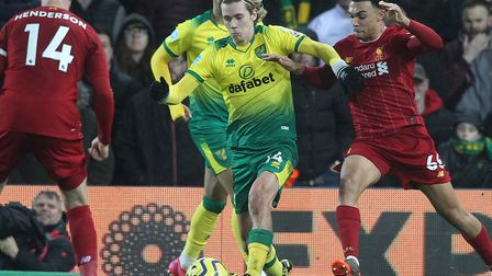 Todd Cantwell in action for Norwich against Liverpool on Saturday Picture: Paul Chesterton/Focus Ima
