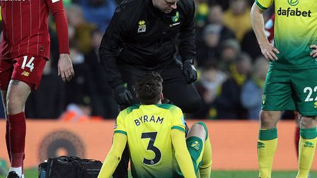 Sam Byram suffered a hamstring injury in Norwich City's 1-0 Premier League deeat against Liverpool P