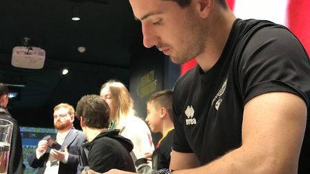 Kenny McLean, Lukas Rupp and Timm Klose signed autographs for supporters at the Norwich City Fan Hub