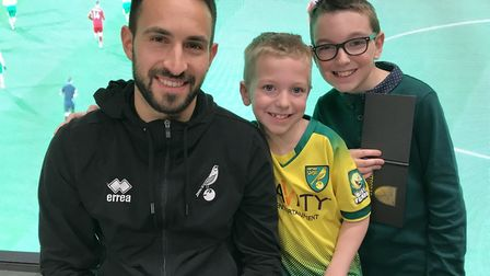 City new boy Lukas Rupp met hundreds of young fans at the Norwich City Fan Hub in Jarrolds. Picture: