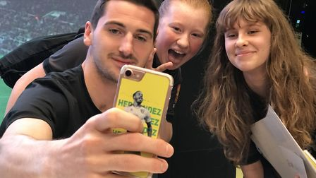 Libby McLeod, 13 and Ellie Samuel, 14 both from Norwich, meet city midfield maestro Kenny McLean at