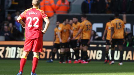 City striker Teemu Pukki looks on as Wolves celebrate. Picture: Paul Chesterton/Focus Images