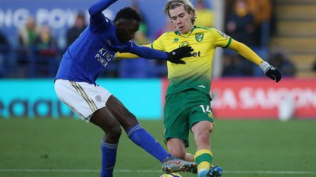 Leicester midfielder Wilfred Ndidi holds off pressure from Todd Cantwell during Norwich City's 1-1 d