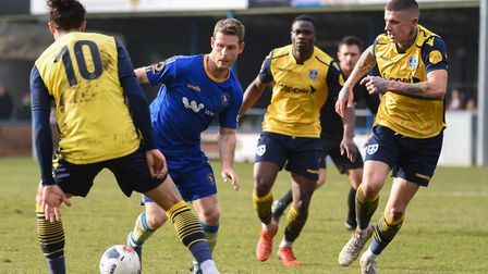 Adam Marriott had a number of chances for King's Lynn in a 1-0 defeat to Guiseley Picture: Ian Burt