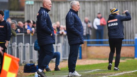 King's Lynn Town boss Ian Culverhouse, centre, during the weekend game against Guiseley. Picture: Ia
