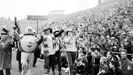 The Norfolk Dumpling, Norwich City's mascot, is paraded around the pitch before the FA Cup semi-fina
