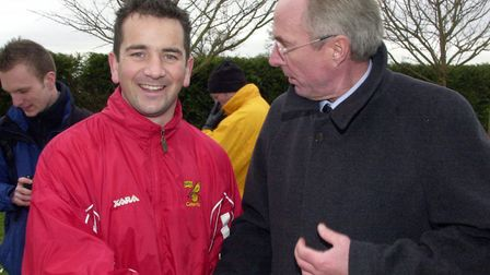 Dave Carolan, with former England manager Sven-Goran Eriksson on a visit to Colney, during his spell