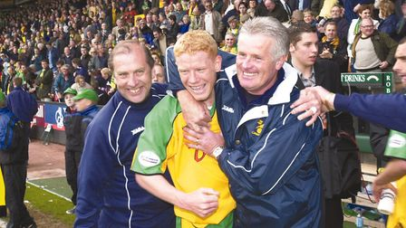 Play-of semi-final delight against Wolves for Gary Holt and, left, kitman Terry Postle and coach Ste