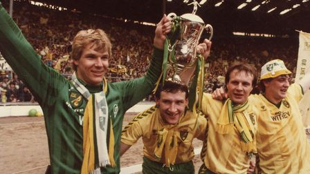 Norwich City celebrate after winning the Milk Cup, from left, Chris Woods, Dave Watson, Paul Haylock