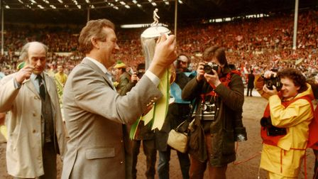Proud Norwich City manager Ken Brown with the spoils of victory Picture: Archant