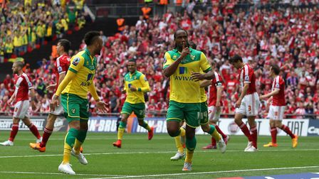 Jerome scored City's opening goal against Middlesbrough in the 2015 play-off final at Wembley. Pictu