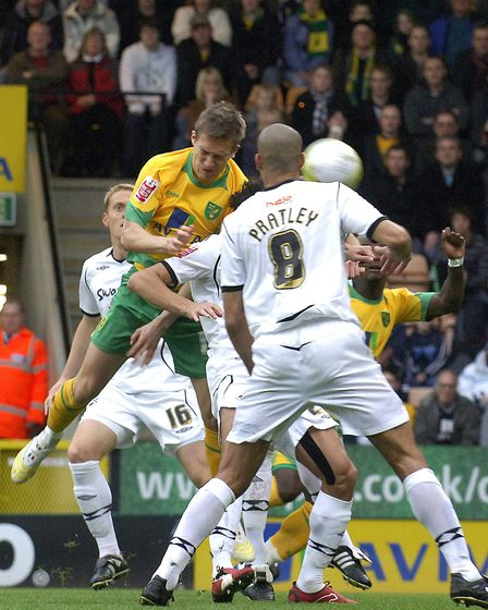 Arturo Lupoli in action against Swansea at Carrow Road Picture: Archant