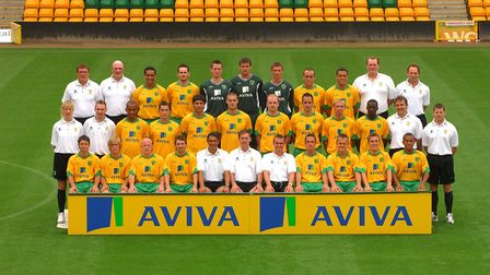 Norwich City's 2008/9 squad. Back row, Tommy Wright (goalkeeper coach), Bryan Gunn (head of player r