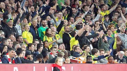 Norwich City fasn travelled in huge numbers to Arsenal in the League Cup Picture: Paul Chesterton/Fo