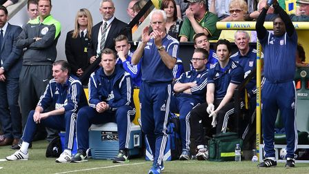 Mick McCarthy - in calmer times at Carrow Road Picture: Ashley Pickering
