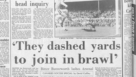 Andy Linighan was the only player not to join in the brawl during the Arsenal v Norwich match in Nov