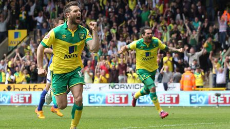 Wes Hoolahan celebrates his play-off opener in May 2015 Picture: Paul Chesterton/Focus Images Ltd