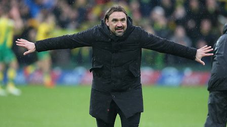 Three and easy - City head coach Daniel Farke celebrates victory with the Carrow Road fans Picture: