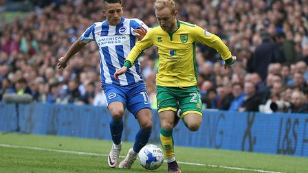 Alex Pritchard's every touch was booed during Norwich City's 5-0 defeat at Brighton. Picture: Paul C