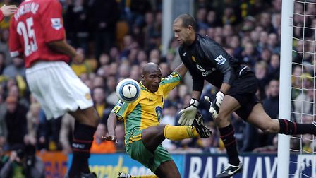 CAPTION; Action from the Premiership League Match between Norwich City v Manchester United at Carrow