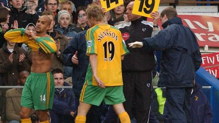 Norwich's Mathias Svensson is subbed early in the first half at Chelsea in December, 2004 after pick