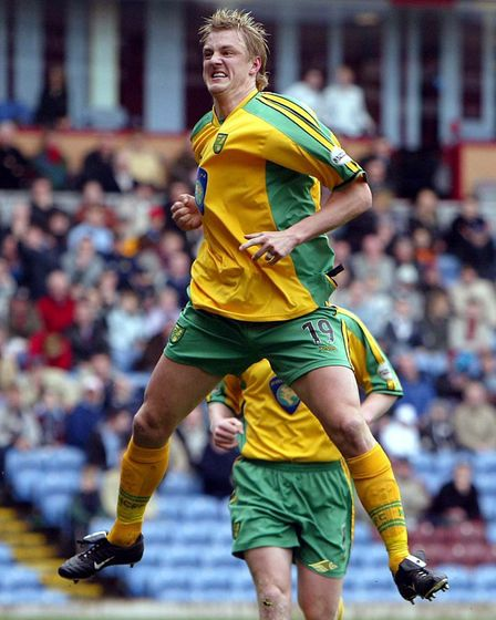 Mathias Svensson jumping for joy after scoring at Burnley in April 2004 Picture: Archant