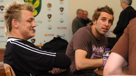Mathias Svensson and Darren Huckerby before a press conference ahead of the crunch end-of-season Pre